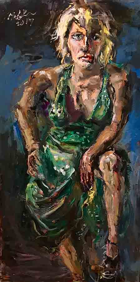 Raoul Middleman painting, Blond in Green Dress