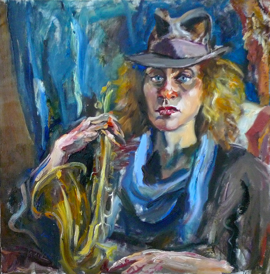 Raoul Middleman painting, Carol Jean With Sax