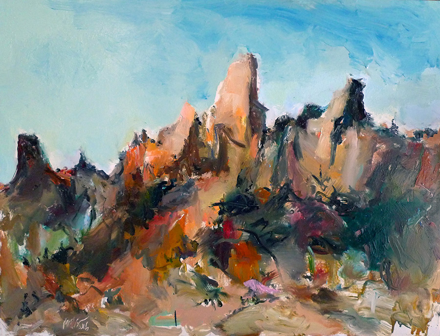 Raoul Middleman painting, Canyon Wall