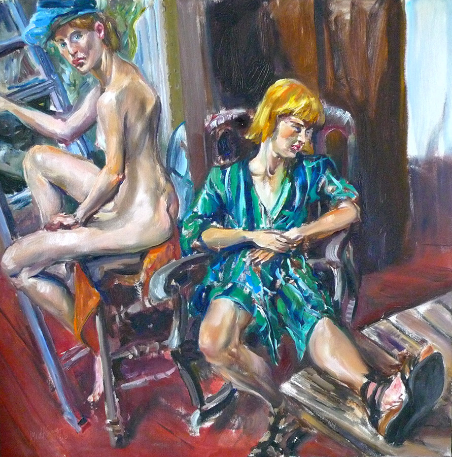 Raoul Middleman painting, Naked And Clothed
