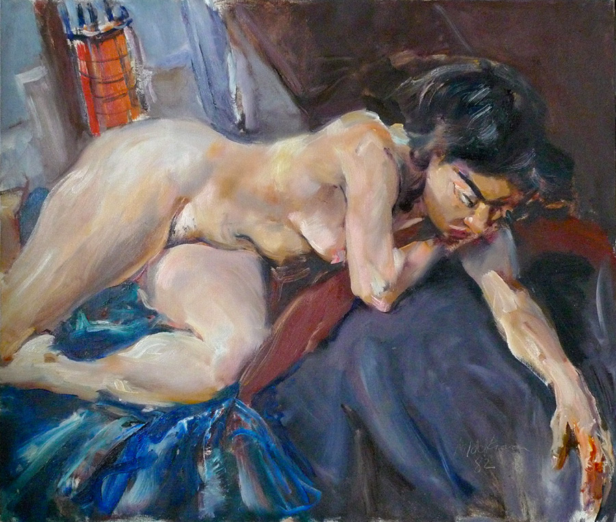 Raoul Middleman painting, Reclining