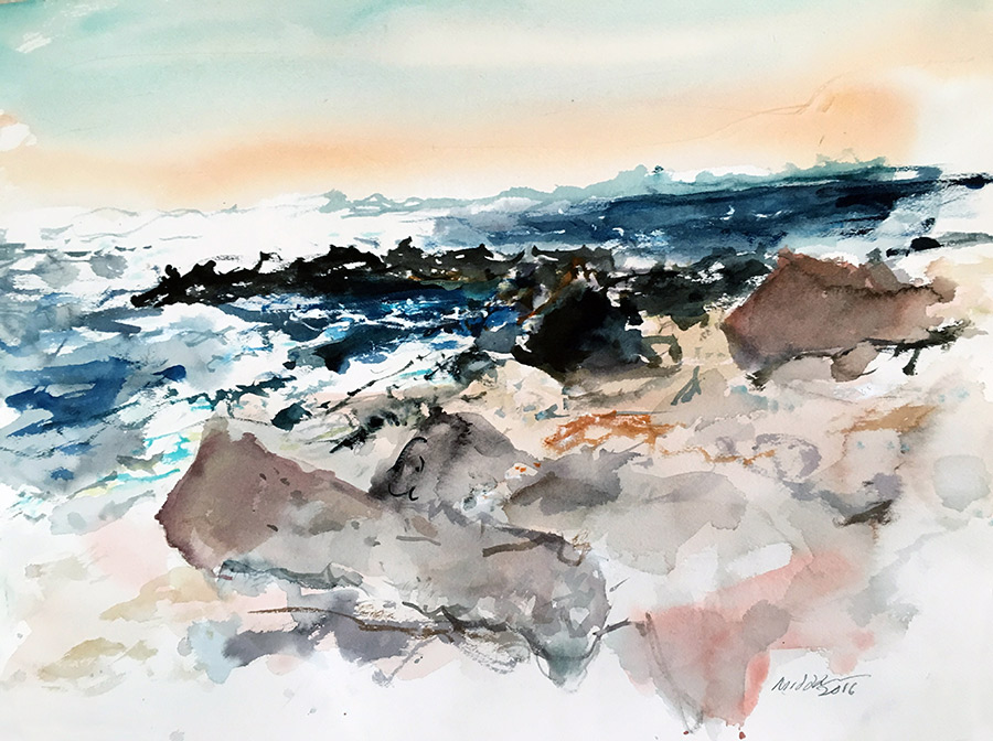 Raoul Middleman watercolor, Breakwater High Tide