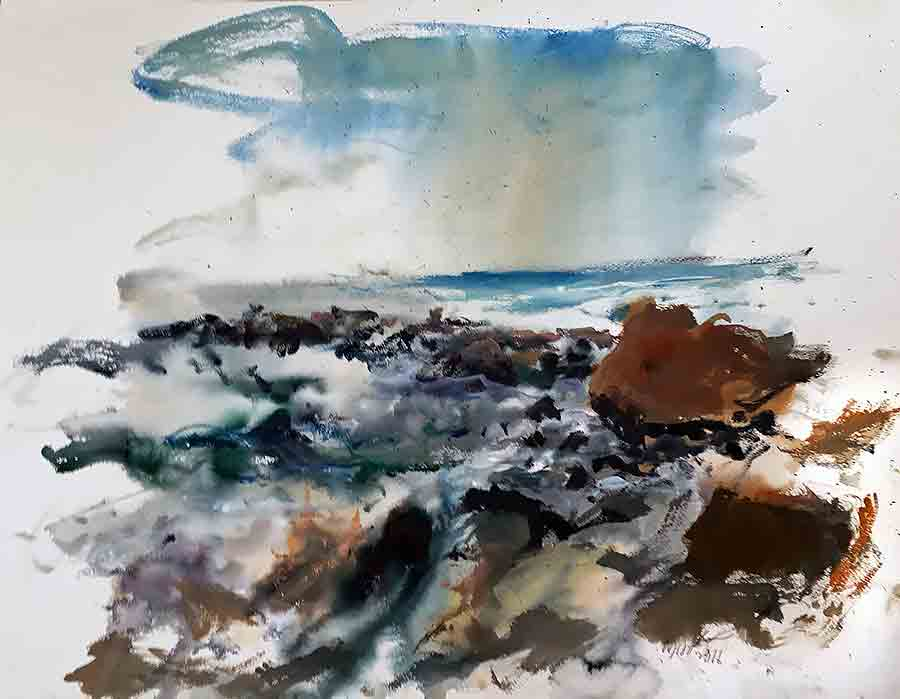 Raoul Middleman watercolor, Front Beach
