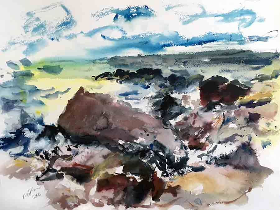 Raoul Middleman watercolor, Warren Point