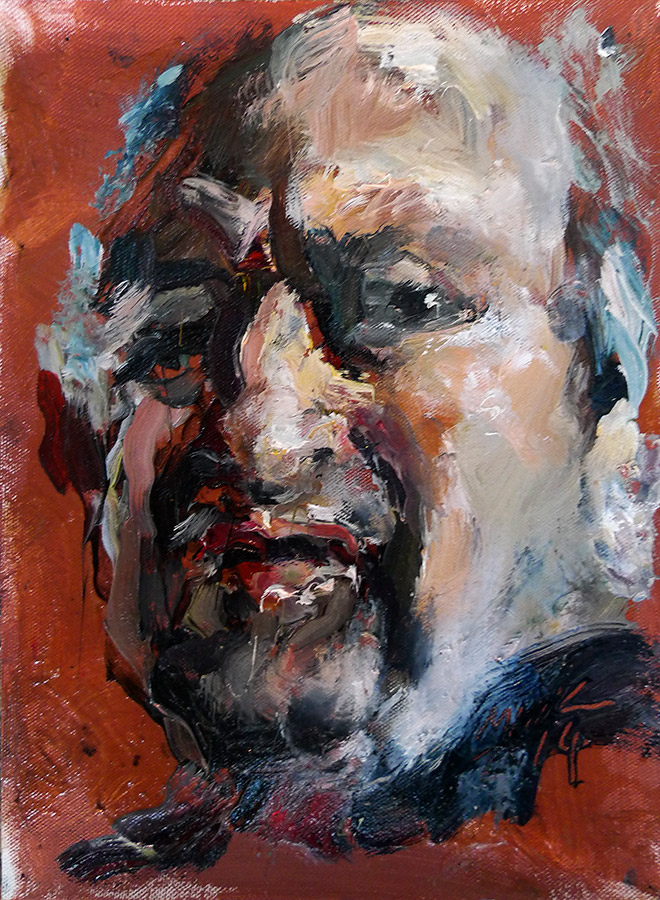Raoul Middleman painting, Maroon Self Portrait