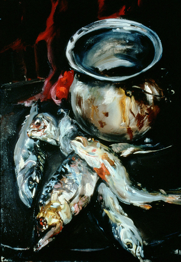 Raoul Middleman painting, Fish and Pot