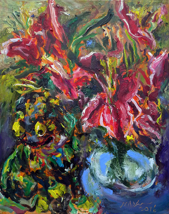 Raoul Middleman painting, Lilies and Fu Dog