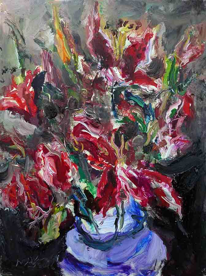 Raoul Middleman painting, Stargazer Lilies